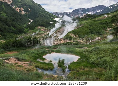 Valley of Geysers, Kamchatka, Russia - stock photo