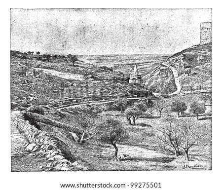 Valley of Jehoshaphat or Valley of Josaphat, vintage engraved illustration. Dictionary of words and things - Larive and Fleury - 1895.