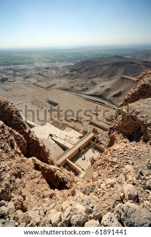 Valley of Kings and the tempel of Hatchepsut - stock photo