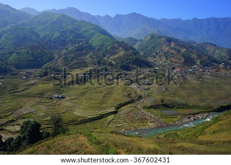 Valley of Rice Terrace Fields in Sapa, Vietnam