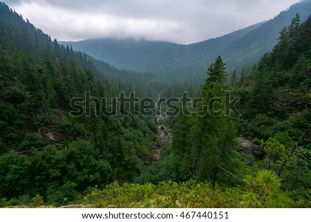 Valley of river Podkomarnaya in Khamar-Daban ridge, Siberia