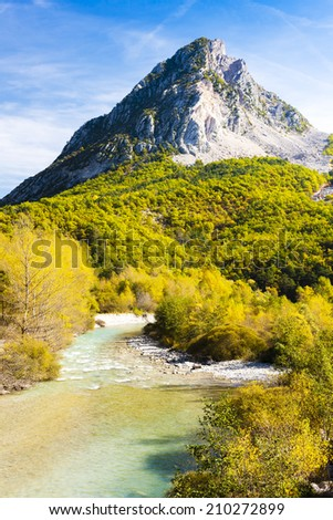 valley of river Verdon in autumn, Provence, France - stock photo