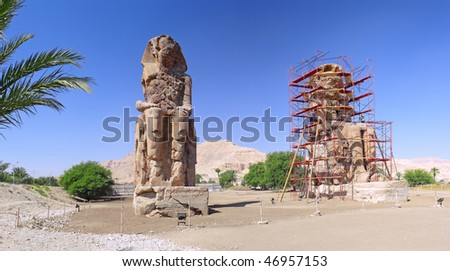 Valley of the Kings. Statue of the Pharaohs. Luxor, Egypt, panorama.