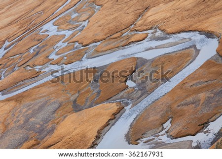 Valley of the mountain river , view from above.  Yustyt River Mountain Altai - stock photo