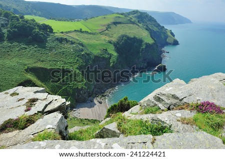 Valley of The Rocks - Coastal Headlands - Valley of The Rocks, Exmoor National Park, Near Lynton & Lynmouth, Devon, United Kingdom - stock photo