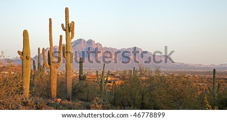 Valley of the Sun catching day's last light. - stock photo