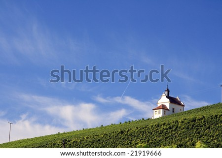 Valley of vineyards in Germany, Franconia - stock photo