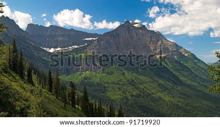 Valley off The Going to The Sun Road Glacier National Park Montana.