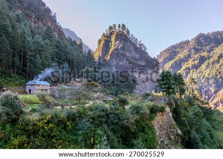 Valley on the way from Monjo to Namche Bazar - Nepal, Himalayas - stock photo