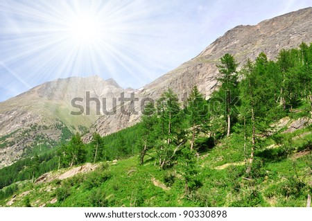 Valley Saastal in the canton Wallis - Swiss Alps