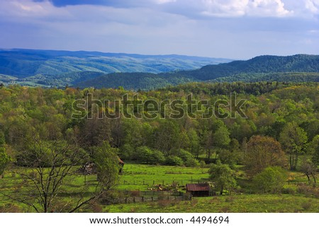 Valley scene in the Appalachian Mountains in West Virginia - stock photo