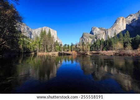 Valley View at Yosemite National Park, California, USA - stock photo