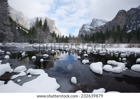 valley view at yosemite national park with fresh snow after winter storm - stock photo
