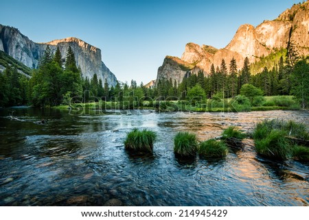 Valley view before sunset - stock photo