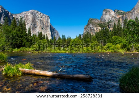 Valley View in Yosemite National Park during Spring. - stock photo