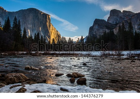 Valley view of Yosemite Canyon in Winter, Yosemite National Park, CA