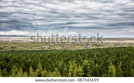 Valley with houses surrounded with coniferous forest. Icelandic landscape
