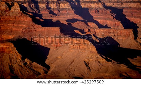 Valleys on the Grand Canyon in sunset