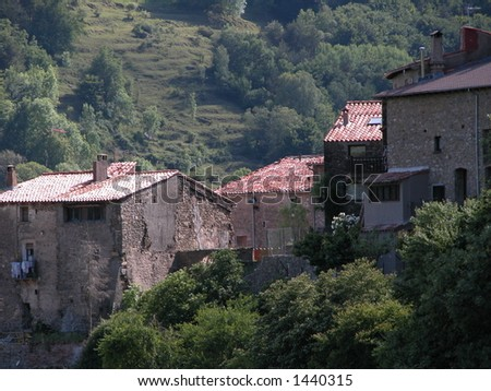 Vallfogona del Ripolles, Catalonia, Spain: several houses of the old village - stock photo