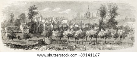 Valognes old view, France. Created by Rouargue after d'Hastrel, published on L'Illustration, Journal Universel, Paris, 1858 - stock photo