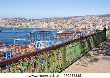 VALPARAISO, CHILE - APRIL 16, 2015: Historic port of the UNESCO World Heritage city of Valparaiso on the coast of Chile. Viewed from Paseo 21 de Mayo. - stock photo