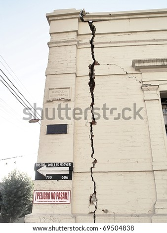 VALPARAISO, CHILE - MARCH 12: Effects of the earthquake of February 27th 2010 of Chile taken on March 12, 2010 at the city of Valparaiso. The epicenter was 500 miles to the South. - stock photo