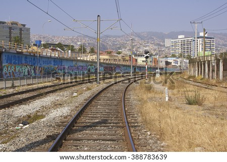 VALPARAISO, CHILE - MARCH 02, 2016: Urban railway running along the coast in the UNESCO World Heritage port city of Valparaiso in Chile.