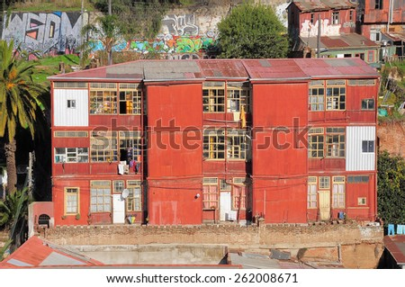 VALPARAISO, CHILE - MAY 29, 2015: Old buildings in the center of the city on May 29, 2015 in Valparaiso, Chile - stock photo