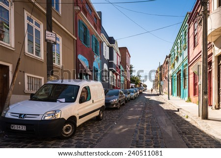 VALPARAISO, CHILE - NOV 9, 2014: Colorful houses of historic part of the Valparaiso, Chile. Valparaiso Historic centre is a UNESCO world heritage site