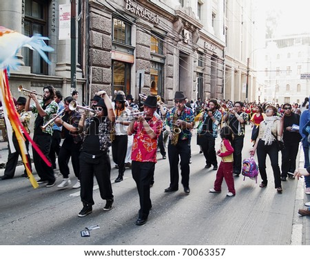VALPARAISO, CHILE - OCTOBER 2: One thousand drums carnival called Carnaval de los mil tambores on October 2, 2009, at the city of Valparaiso. Every year Valparaiso celebrates this popular party. - stock photo