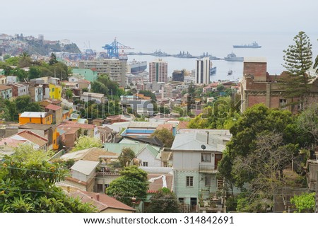 VALPARAISO, CHILE - OCTOBER 19, 2013: View to the residential area and harbor of the city in Valparaiso, Chile.