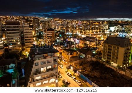 Valparaiso night aerial shot. - stock photo