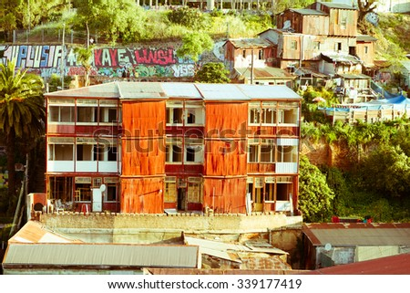 VALPARAISO - NOVEMBER 07: Street art in Concepcion and Alegre districts of the protected UNESCO World Heritage Site of Valparaiso on November 7, 2015 in Valparaiso, Chile - stock photo