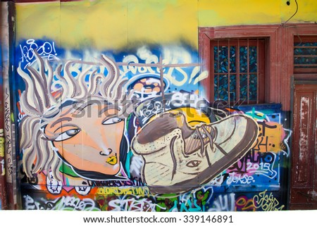 VALPARAISO - NOVEMBER 07: Street art in different districts of the protected UNESCO World Heritage Site of Valparaiso on November 7, 2015 in Valparaiso, Chile