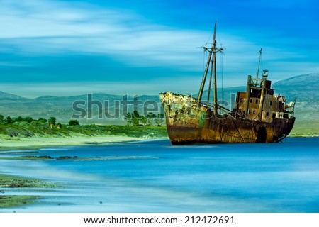 Valtaki Beach Abandoned Ship Near Gytheio Greece.