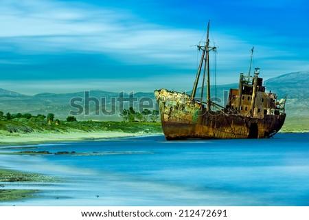 Valtaki Beach Abandoned Ship Near Gytheio Greece. - stock photo