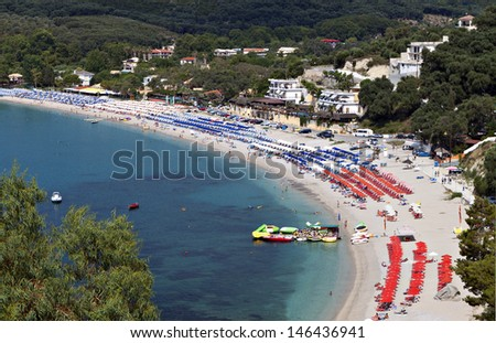 Valtos beach near Parga town of Syvota area in Greece. - stock photo