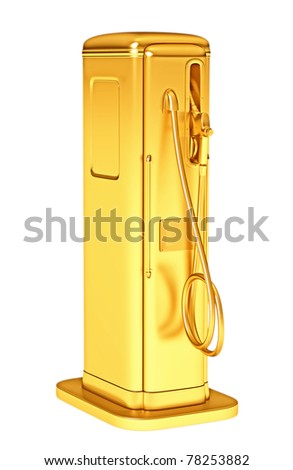 Valuable gasoline: golden fueling pump isolated on white. Large resolution - stock photo