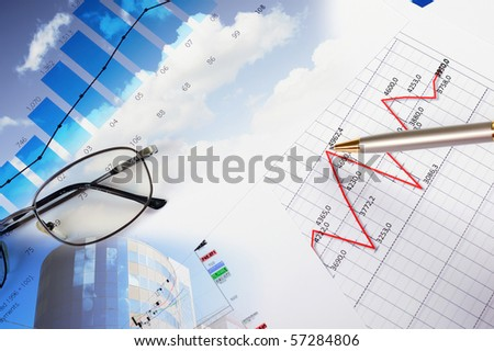 valuable papers, charts and diagrams - a collage - stock photo