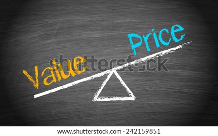 Value and Price - Balance Concept - stock photo