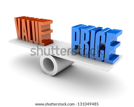 Value and Price balance. Concept 3D illustration. - stock photo