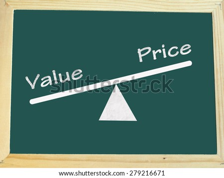 value and price concept on blackboard - stock photo
