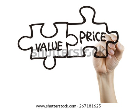 value and price words written by hand on a transparent board - stock photo
