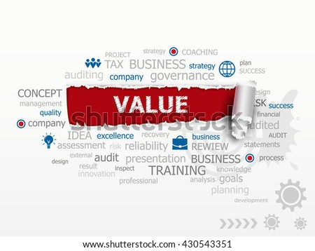Value concept word cloud. Design illustration concepts for business, raster version - stock photo