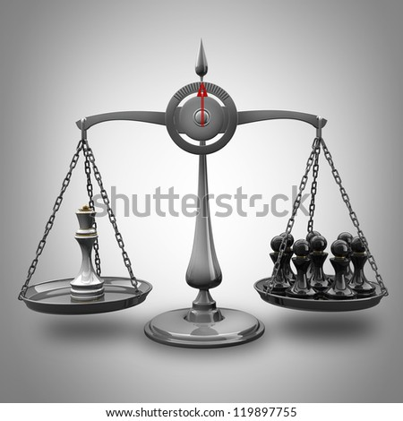 value of chessmen Scale Queen vs pawn High resolution 3d render - stock photo