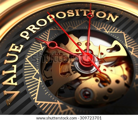 Value Proposition on Black-Golden Watch Face with Closeup View of Watch Mechanism. - stock photo