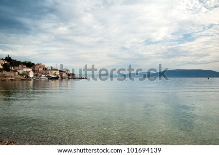Valun Village Port on the Island of Cres in Croatia - stock photo