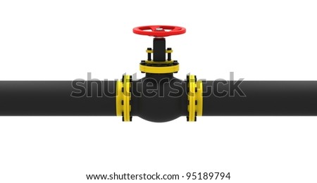 Valve for pumping oil on a white background. - stock photo