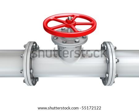valve on pipeline close up - stock photo