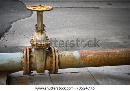 Valve on the pipeline - stock photo